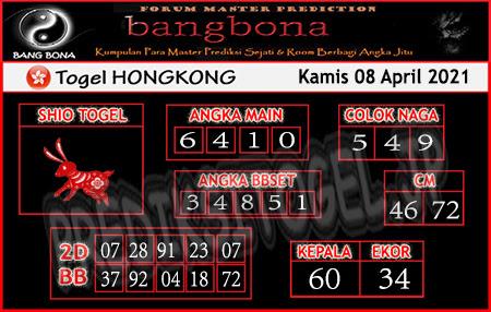 Prediksi Bangbona HK Kamis 08 April 2021