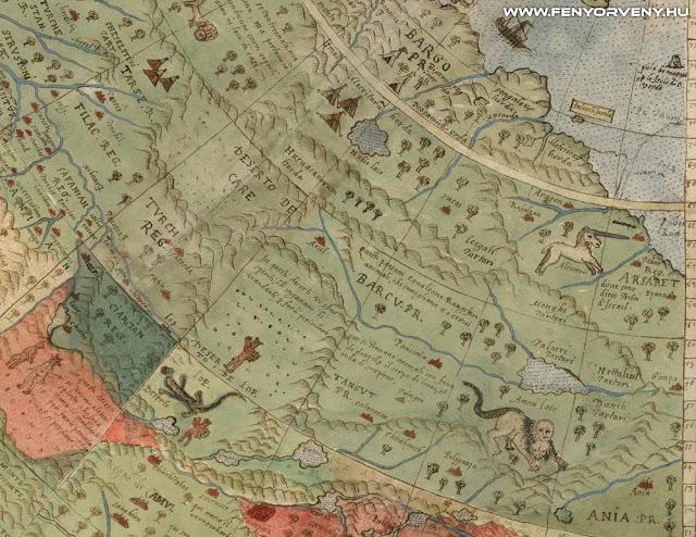 """Unikornisok, sárkányok és vízi """"szörnyek"""" is felbukkannak egy 430 éves térképen"""