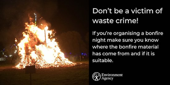 Environment Agency bonfire warning sign