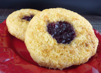 Jammy Biscuits: thumbprint cookie filled with red jam to celebrate Red Nose Day