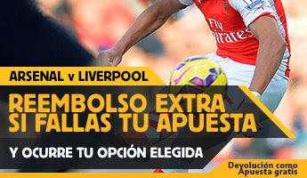 betfair reembolso 25 euros premier league Arsenal vs Liverpool 4 abril