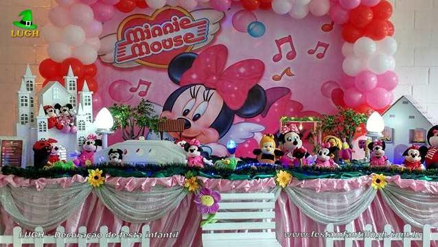 Mesa de aniversário Minnie rosa de tecido para festa infantil