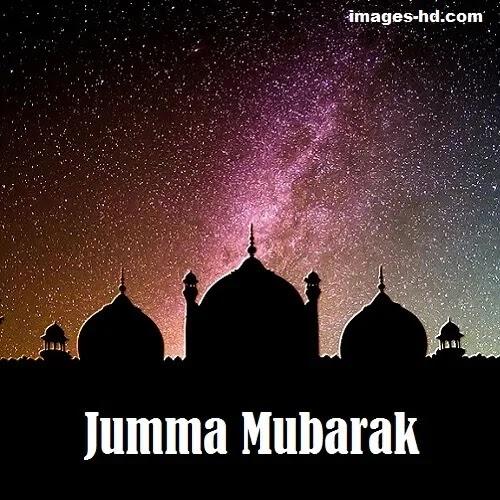 Jumma Mubarak DP with masjid at night