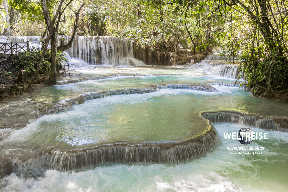 Khoung Si Waterfalls, falls, travel in Luang Prabang, Laos. World travel. Worlds most beautiful waterfalls.