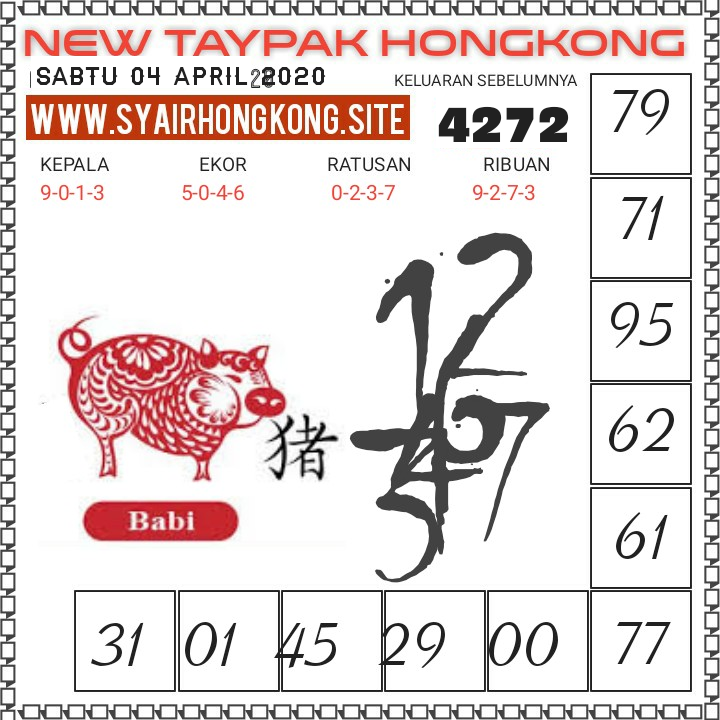 Prediksi HK Sabtu 04 April 2020 - New Taypak Hongkong