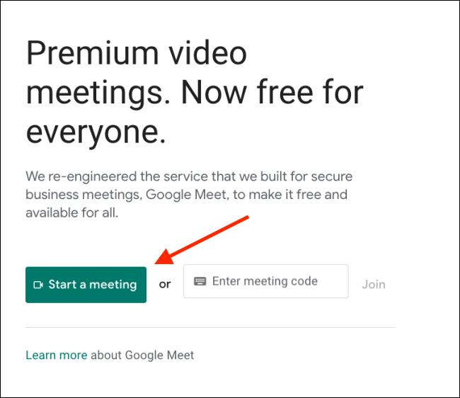 انقر على بدء لقاء على Google Meet