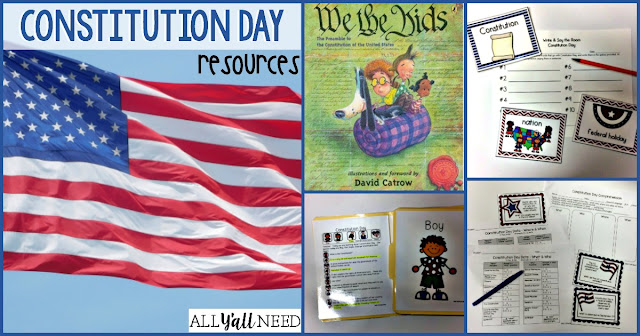 Constitution Day resources for elementary students help teachers target difficult concepts, vocabulary, and IEP goals in speech & language therapy.
