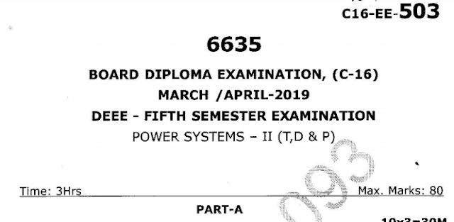 SBTET AP C16 POWER SYSTEMS - II (T, D & P) PREVIOUS QUESTION PAPER