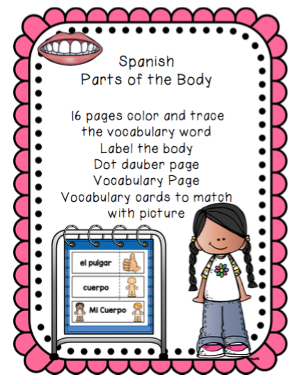 Spanish Parts of the Body ~ Preschool Printables