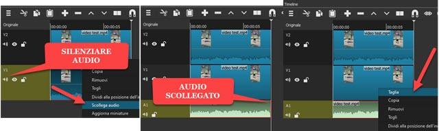 silenziare o scollegare audio da una clip su Shotcut