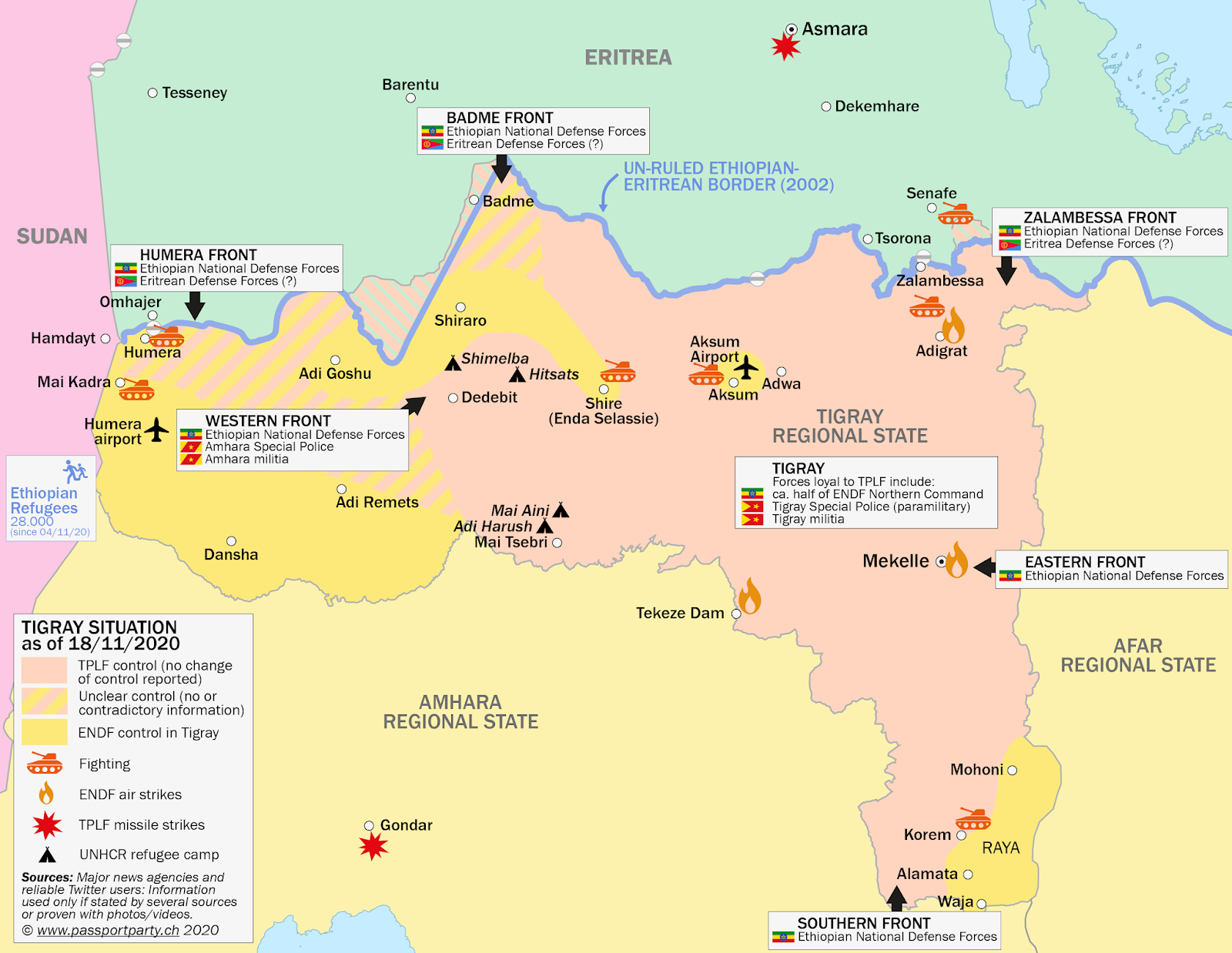 Tigray control map: Rough illustration of territorial control in Ethiopia's Tigray war as known November 18, 2020, showing areas believed to have been captured by Ethiopian government forces as well as areas occupied along the disputed border with Eritrea.