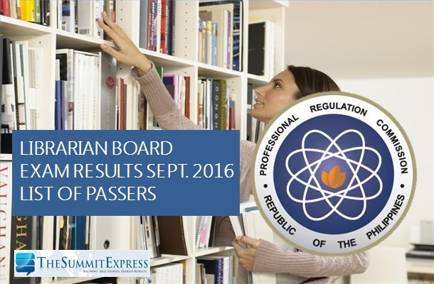 September 2016 Librarian board exam results