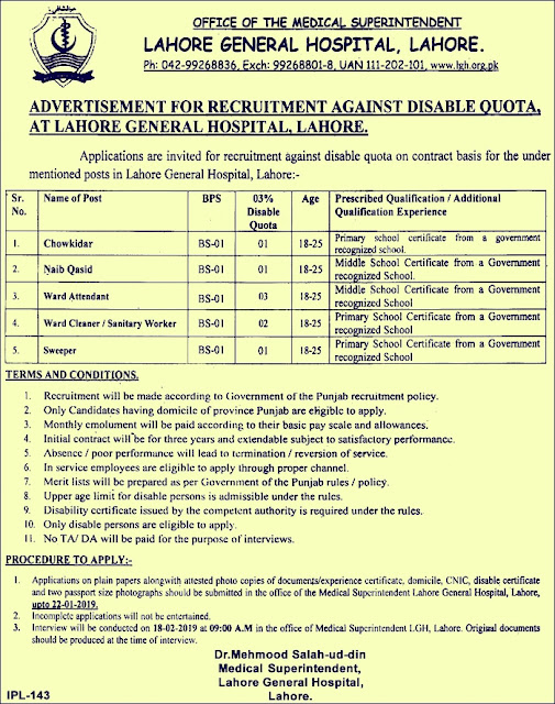Lahore General Hospital LGH New Jobs 2019