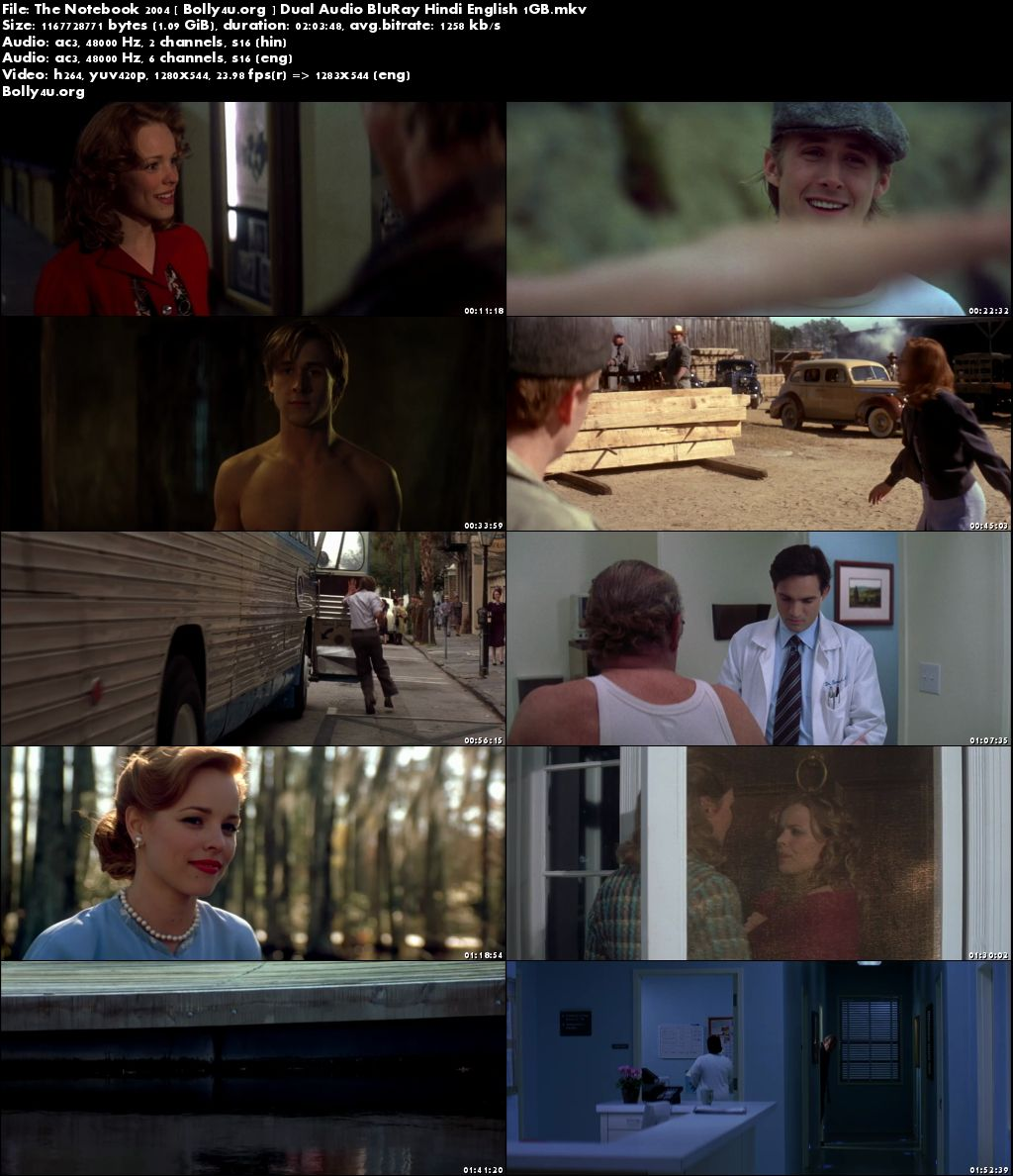 The Notebook 2004 BluRay 1Gb Hindi Dual Audio 720p Download