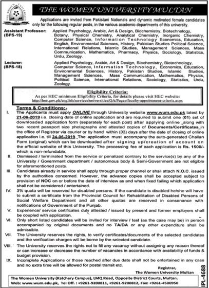 The Women University Multan Job 2019 For Teaching