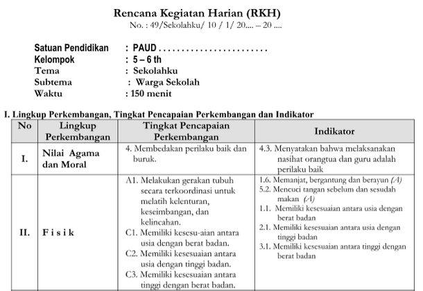 RPPH Tema Sekolahku 5-6 Tahun Kurikulum 2013