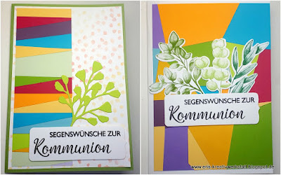 Bunte Kommunionkarten mit Blätterästen Stampin' Up! www.eris-kreativwerkstatt.blogspot.de