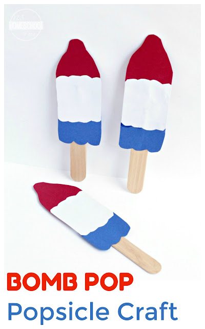 Bomb Pop Popsicle Craft - this is such a fun, simple craft for toddler, preschool, prek, and kindergarten craft for summer, independence day, or 4th of July