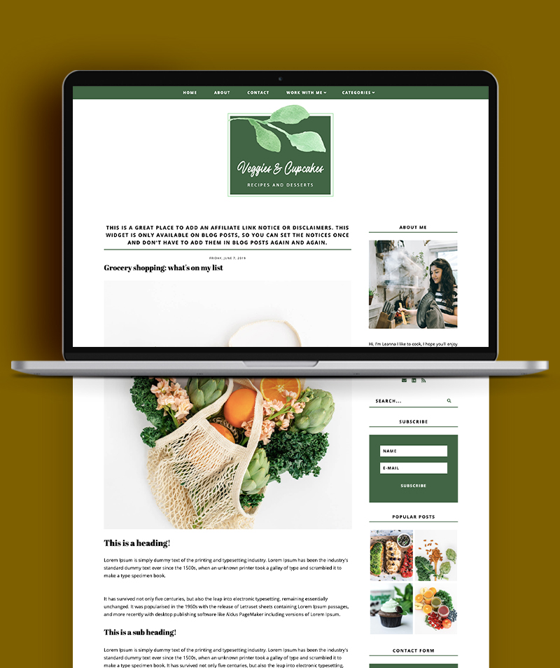Post page view of veggies and cupcake blogger template