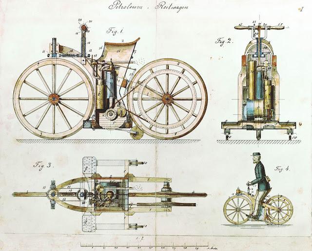 www.fertilmente.com.br - A primeira motocicleta, criada para testar um motor, em seus vários angulos