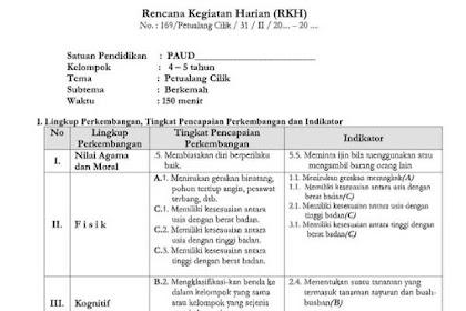 RPPH PAUD Tema Petualang Cilik Kelompok A Kurikulum 2013