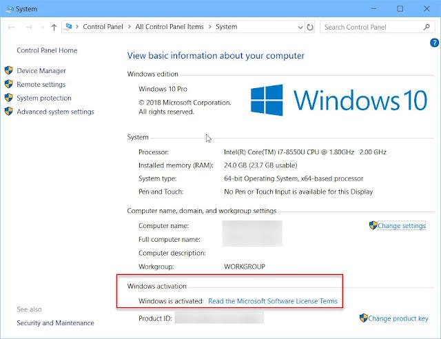 Periksa aktivasi Windows menggunakan properti sistem