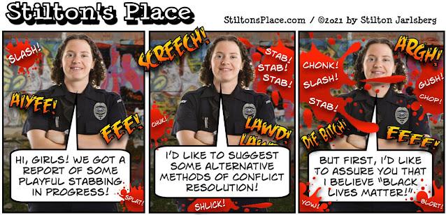stilton's place, stilton, political, humor, conservative, cartoons, jokes, hope n' change, blm, race, police, cleveland, knife, racism, biden, insanity