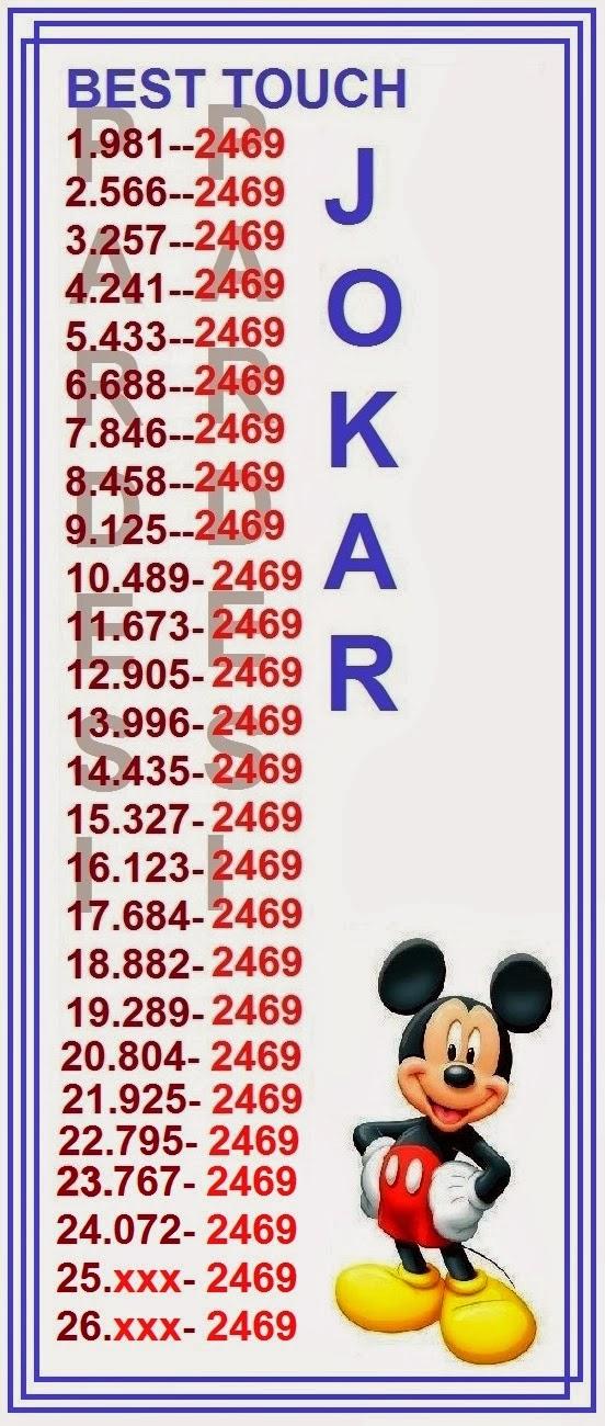 Thailand lottery htf joker vip total 3up htf 16 january 2014
