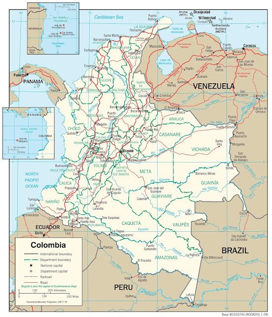 Mapa rodoviário da Colômbia