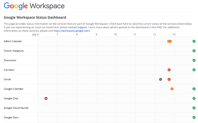 The Google Workspace Status Dashboard will receive a new UI refresh, making it easier to view important information and updates.