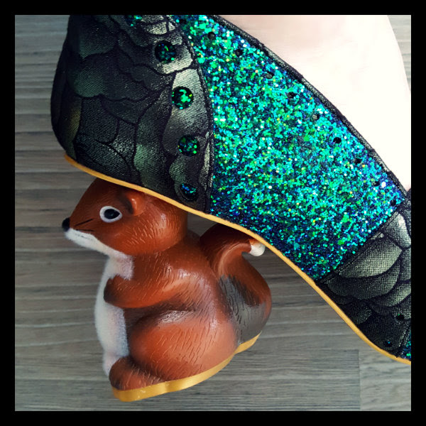 wearing irregular choice secret squirrel heel detail