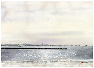 Watercolor. The beach in winter.  水彩画 冬の浜辺