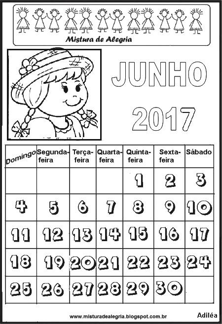 Mistura de Alegria: CALENDÁRIOS DE 2017 PARA IMPRIMIR E COLORIR