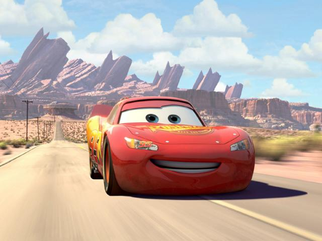 Lightning McQueen in the desert in Cars 2