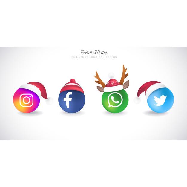 Christmas social media logo collection Free Vector