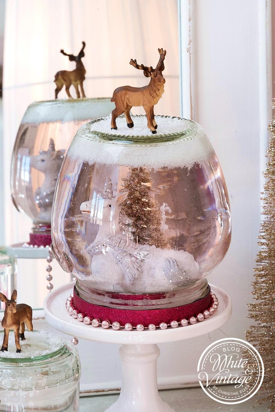 Schneekugeln aus Altglas selber machen.