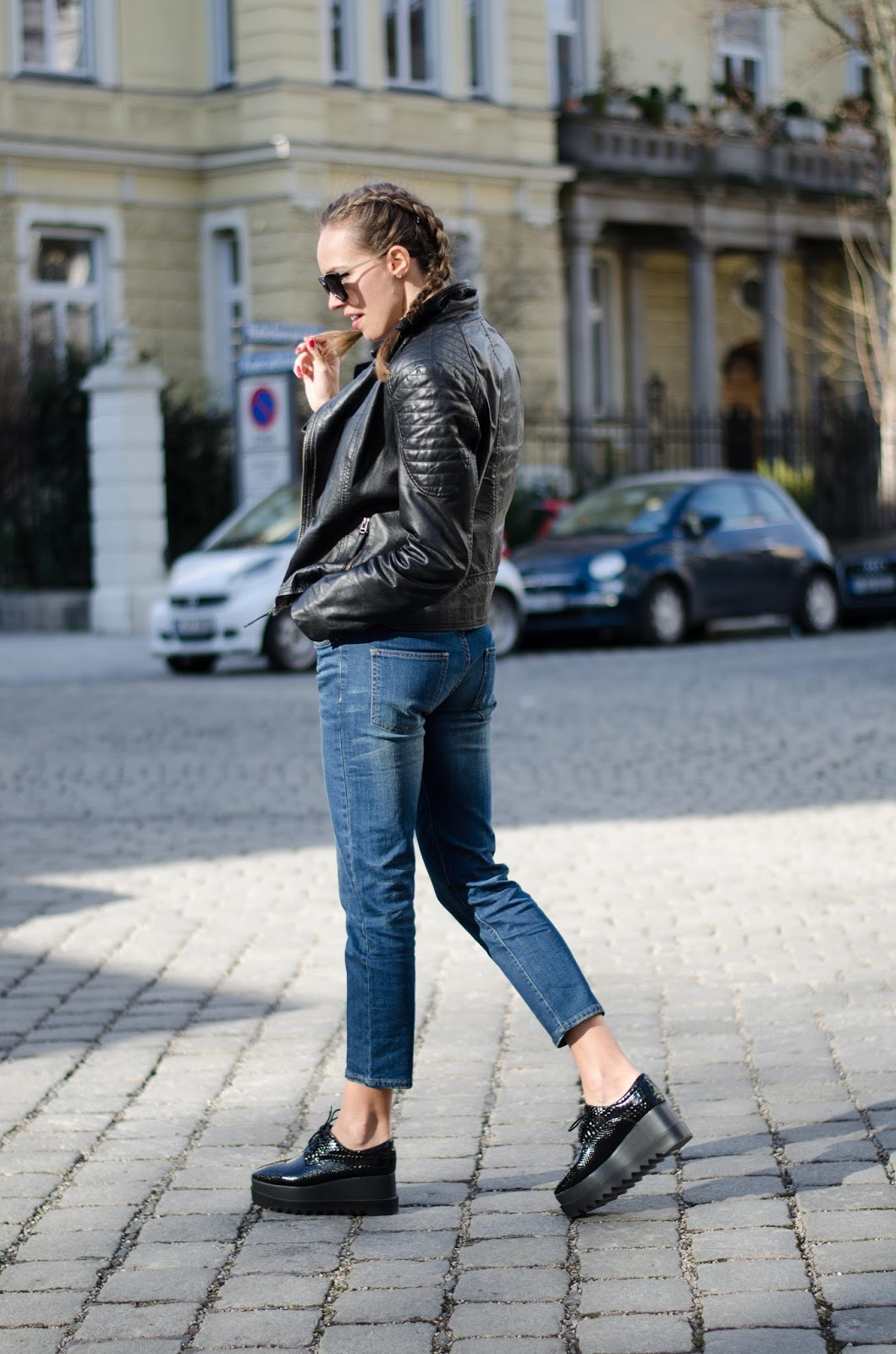 kristjaana mere prada sunglasses barneys leather jacket dutch braids flatform shoes mom jeans