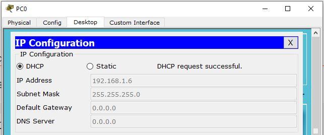 mendapat IP DHCP dari Server