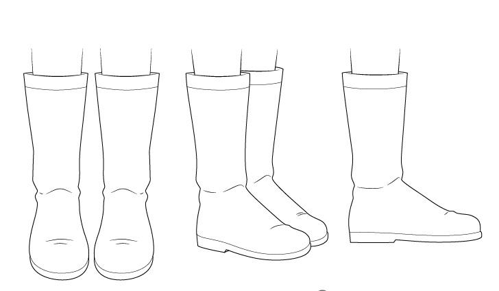 Menggambar sepatu bot anime
