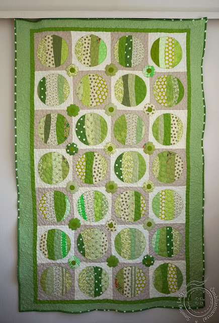 green floral quilt