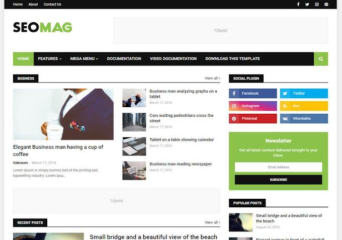 Seo Mag Blogger Template - Template Blogspot Chuẩn Seo 2019
