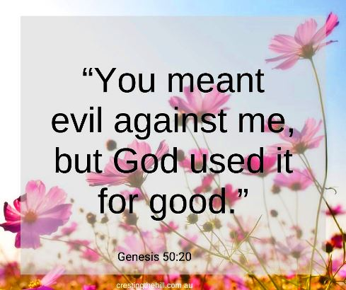You meant evil against me but God used it for good. Genesis 50:20