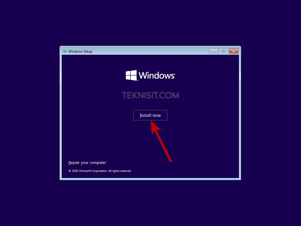 Cara instal Windows 10 dengan flashdisk