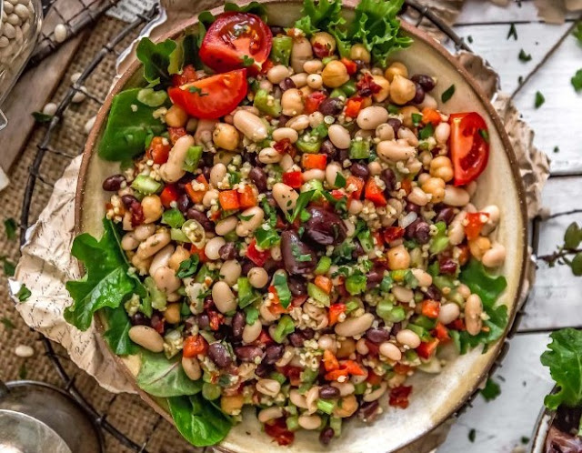 Mediterranean Three Bean Salad #vegan #salad