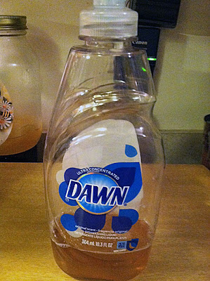 I store my homemade liquid dish soap in an old Dawn bottle.