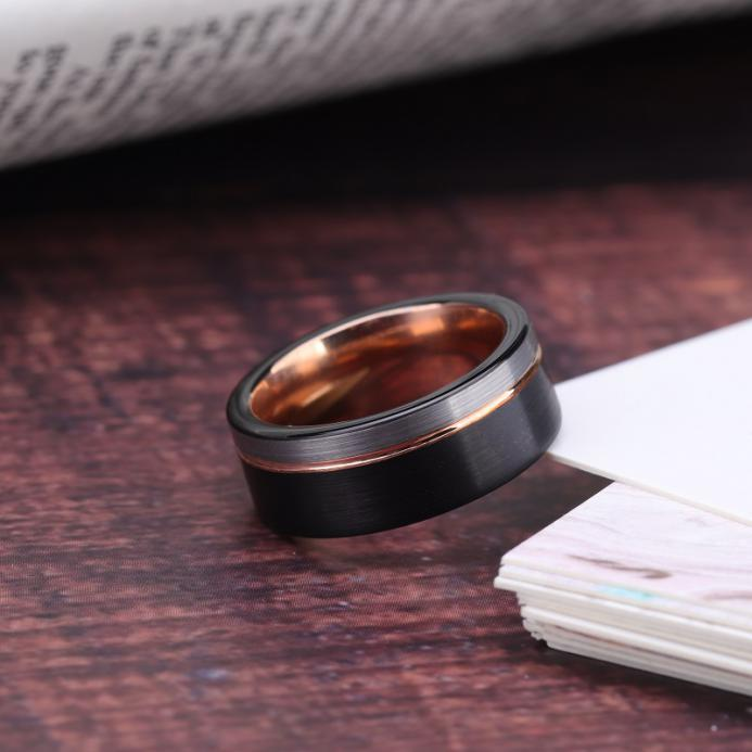 Rose gold line ring black edge and silver brushed wedding band