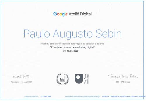 Imagem do certificado Google Ateliê Digital de Paulo Sebin