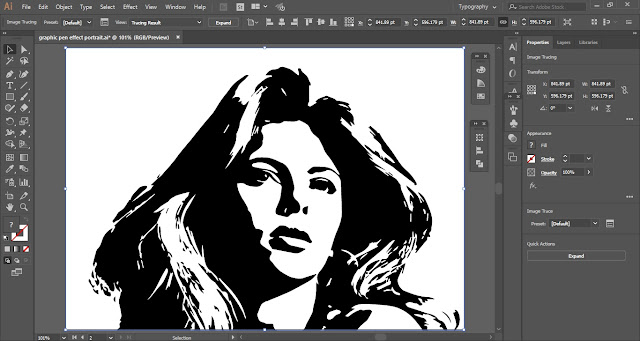 Graphic Pen Effect Portrait in Adobe Illustrator