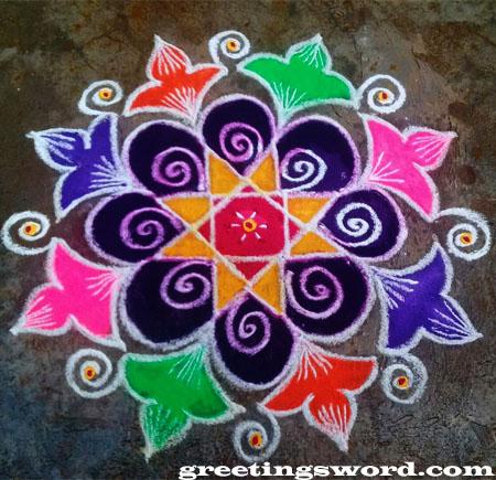 Make a simple colorful deepavali Rangoli image,see free shape below