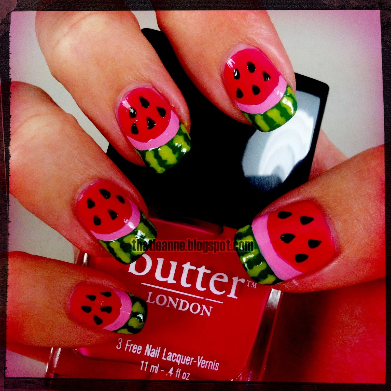 Thatleanne Chococat Nail Art: Thatleanne: Watermelon Nail Art Take Two